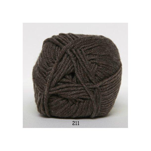 Hjertegarn - Merino Cotton 211 Brun meleret