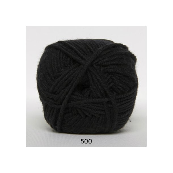 Hjertegarn - Merino Cotton 500 Sort
