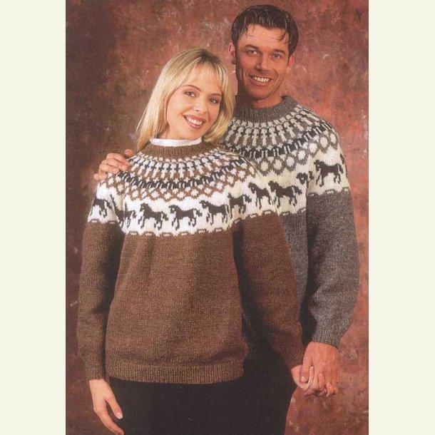 Sweater med islandske heste - sælges kun med garn