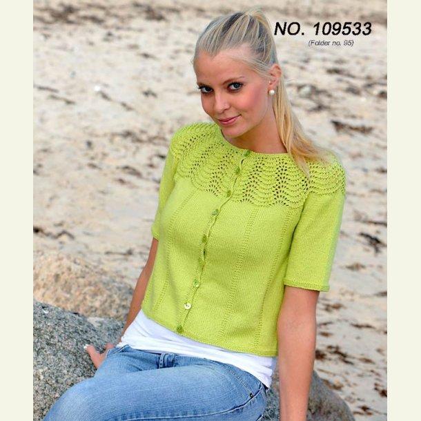 Kort trøje med påfuglemønster