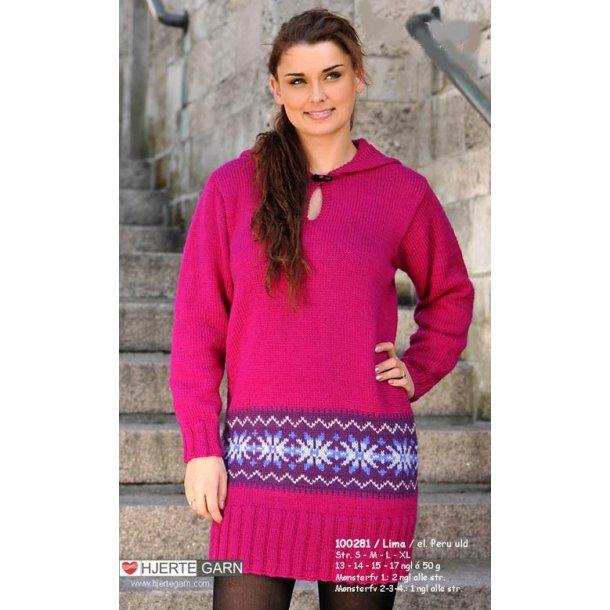 Lang sweater med hætte