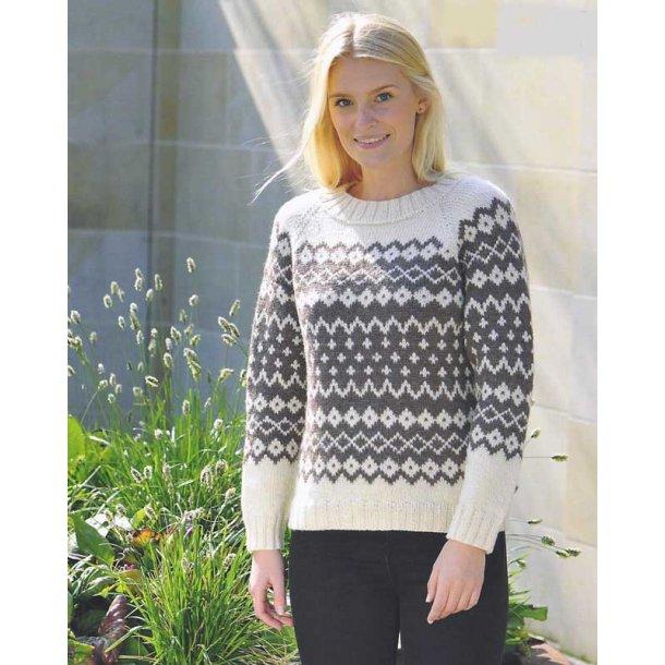 Sweater med mønsterborter