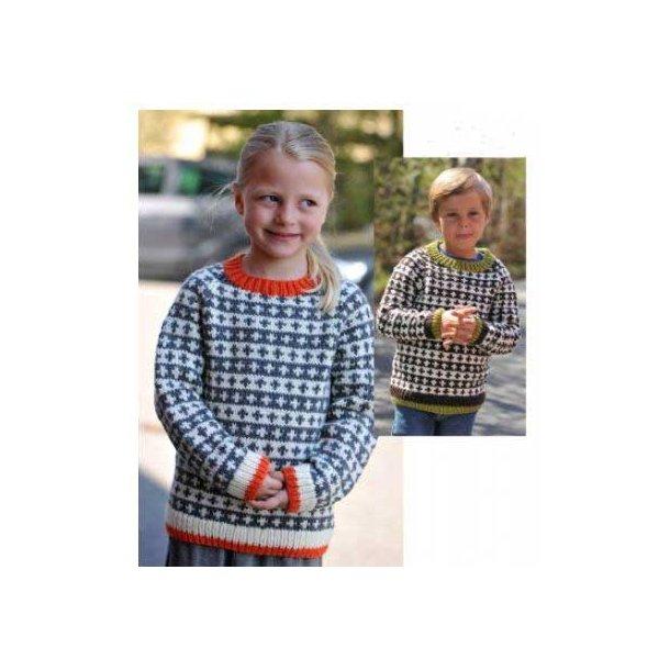 Mønster til børnesweater med raglanærmer