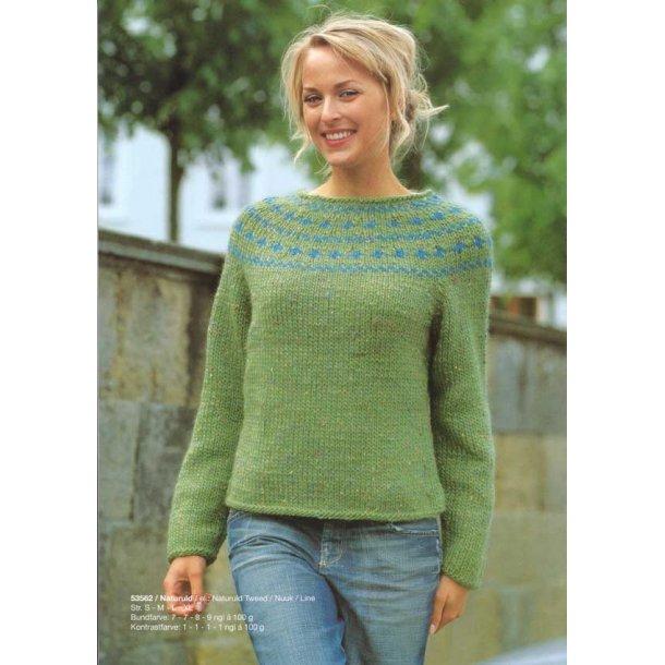 Strikkeopskrift - Sweater med mønster