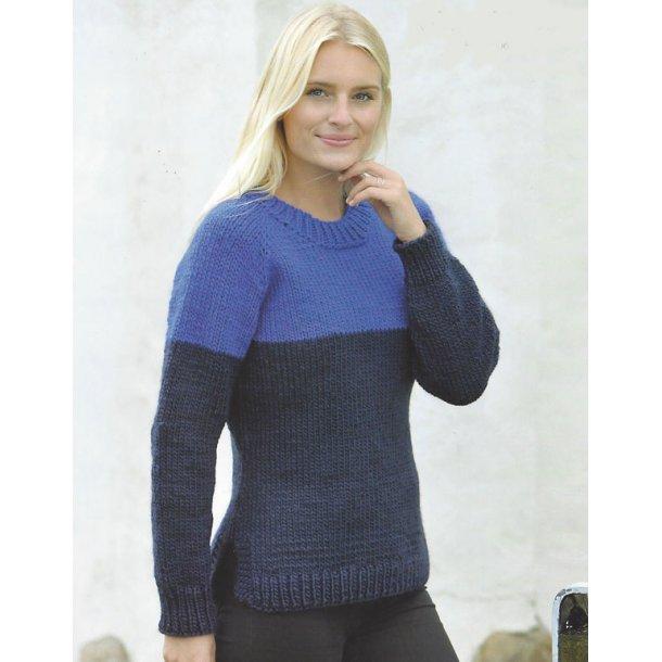 2-farvet top-down sweater