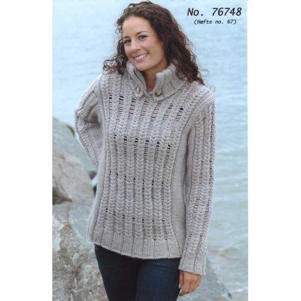 Strikkeopskrift - Sweater med løbemasker