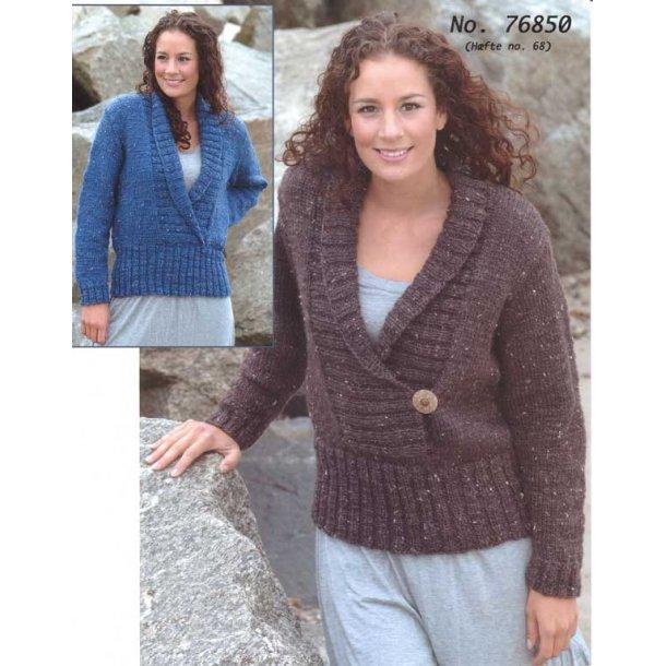 Strikkeopskrift - Sweater med sjalskrave