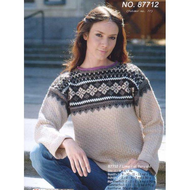Strikkeopskrift - Sweater med nordisk mønster