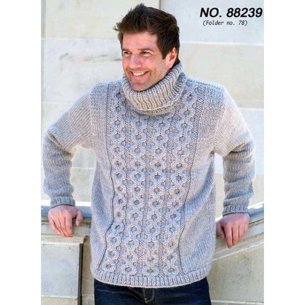 Strikkeopskrift - herresweater med aranmønster