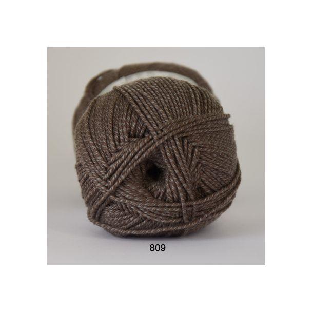 Hjertegarn - Lana Cotton 809 Mørk meleret brun