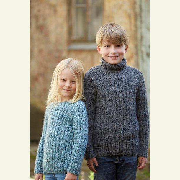 Strikkekit - Ribsweater til børn fra CaMaRose. Str. 4-5år. LAMAULD