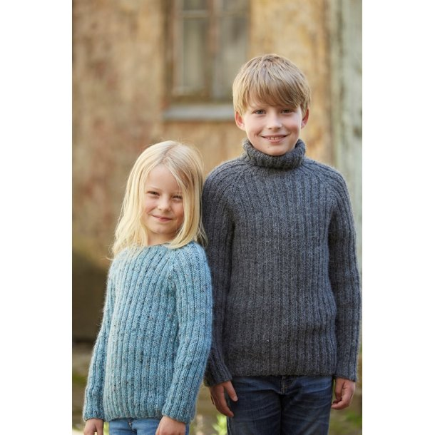 Strikkekit - Ribsweater til børn fra CaMaRose. Str. 10-12år. LAMAULD