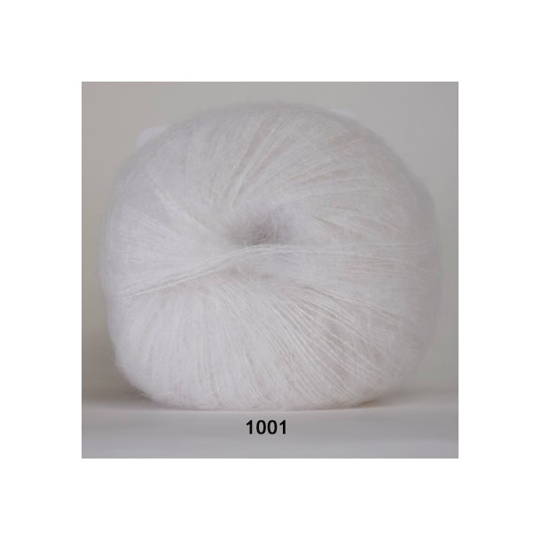 Hjertegarn - Silk Kid Mohair 1001 Hvid