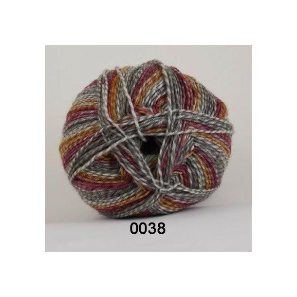 Rock strømpegarn - Hjertegarn 0038 Grå/gul/rød