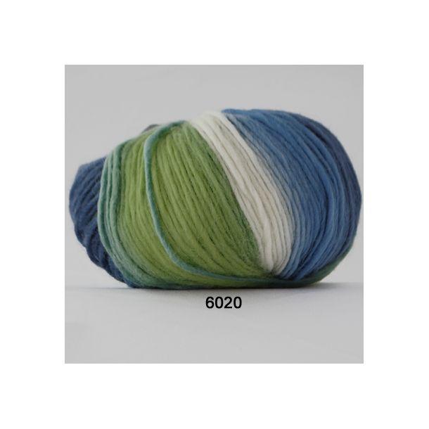 Hjertegarn - Incawool 6020 Grøn/blå/hvid