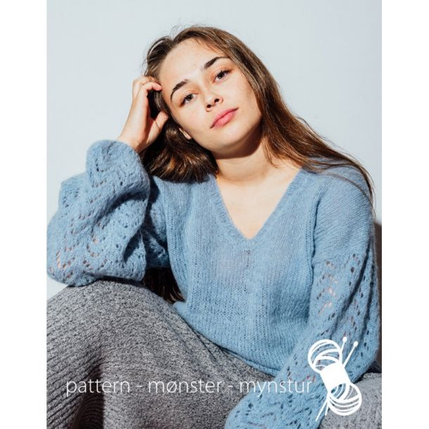 Strikkekit - Kort sweater med V-hals Str. M - Navia