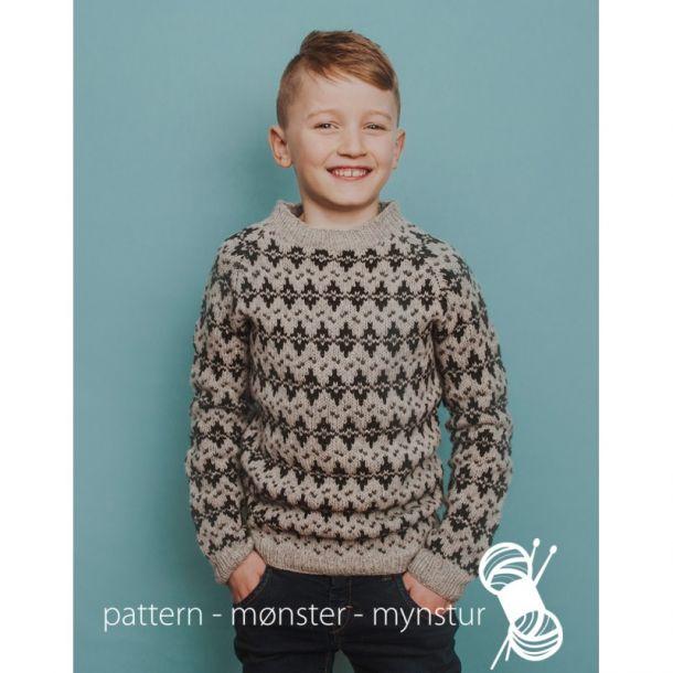 Strikkekit - Mønstret trøje til drenge - Navia str. 8-9 år.