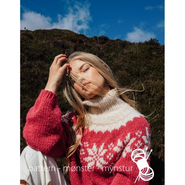 Strikkekit - Sweater med stjerner str S. - Navia